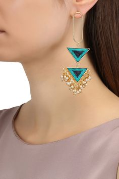 Bauble Bazaar presents Matte finish triangular two tier earrings available only at Pernia's Pop Up Shop. Jewelry Design Earrings, Ear Jewelry, Cute Jewelry, Modern Jewelry, Designer Earrings, Women's Earrings, Bridal Jewelry, Jewelery, Diamond Earrings