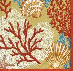 Caspari Palm Beach Gold Marine Life Printed 3-Ply Paper Luncheon Napkins Wholesale 10650L