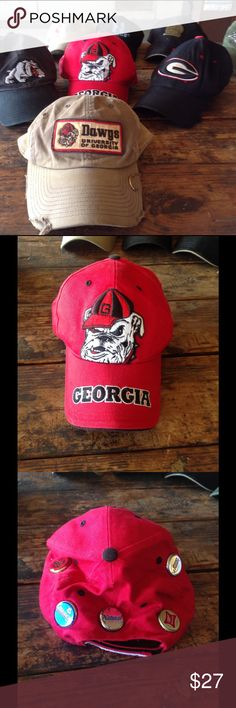Ga bulldog cap! One of a kind! Red and black Ga bulldog cap, made by Twins Enterprise, Inc., Genuine Quality, officially liscenced collegiate products! Has Budweiser bottle cap, bush, natural light, Miller high life, and bud light. One size! Great memorabilia! Has Georgia on back Velcro close tab. twins Enterprise Accessories Hats