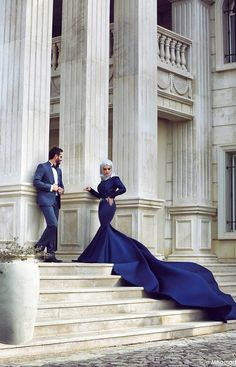 Cheap evening dresses couture, Buy Quality dress couture directly from China muslim evening dress Suppliers: Royal Blue Long Mermaid Saudi Arabia Evening Dresses 2017 Long Sleeved Formal Turkey Evening Gowns Muslim Evening Dress Couture Blue Wedding Dresses, Bridal Dresses, Wedding Gowns, Bridesmaid Dresses, Prom Dresses, Wedding Tips, Couples Musulmans, Cute Muslim Couples, Married Couples