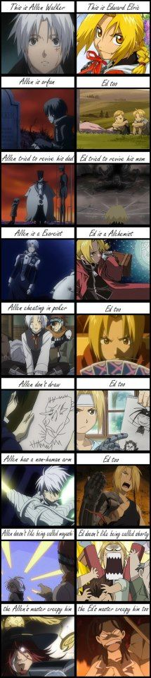 Allen+ Ed. Actually, Ed is not an orphan, his mother died but his father is alive but never around. This is true if you watch FMA: Brotherhood.<---- Okay, first of all, YES!! But I'm really glad somebody made this. D. Gray-man is so much like Fullmetal Alchemist. Noah Family/Homunculi. It's around the same time-period, too.