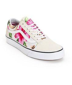Vans Old Skool Hawaiian Floral Shoes Vans Sneakers, Chuck Taylor Sneakers, Vans Shoes, High Top Sneakers, Floral Shoes, Custom Vans, Hawaiian Print, Skate Shoes, Vans Old Skool