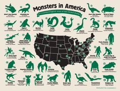 01/25/2015 -United Monsters Of America: Infographic Reveals The Strange Beasts That Have Captured The Nation's Imagination. From the Jersey Devil to the Mothman, the US is filled with fictional creatures that have come to life in the nation 's imagination. Now one artist has ruled to draw these cryptids by hand, revealing the beasts that are feared the most in each state.Source: The Daily Mail