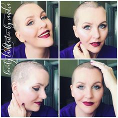 First look since the shave. 💜☺💜 #makeup #cosmetics #lashes #mascara #younique #love #happy #mom #momof4 #sahm #wahm #fiberlash #joy #blueeyes #aspiringmua #boss #bossbabe #workfromhome #work #business #determination #dreams #goals #driven #lips #lipstick #baldisbeautiful #nohairdontcare #beauty #feelingmyself