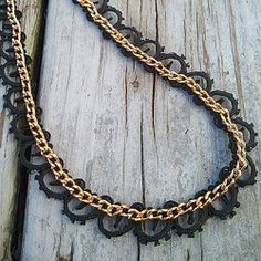 With a few supplies you can create this gorgeous lace and chain necklace.