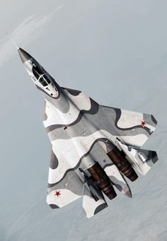 The Sukhoi PAK FA is the fifth-generation fighter programme of the Russian Air Force. The is the name of the prototype aircraft. First flight in introduction in Air Fighter, Fighter Jets, Tomcat F14, Russian Jet, Russian Fighter, Aircraft Painting, Sukhoi, Military Aircraft