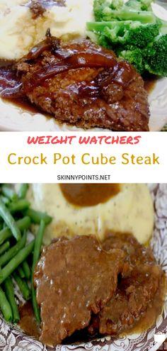 Cube Steak Recipes, Crockpot Recipes, Cooking Recipes, Healthy Recipes, Chicke Recipes, Ww Recipes, Smothered Cube Steak, Beef Cubed Steak, Weight Watchers Pumpkin