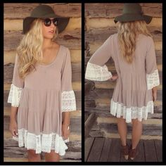 ❗️RESTOCKED❗️ Boho Babe Lace Hem Mini Chic Dress Beautiful peasant style dress with lace hem lines. Brand new! Runs true. All colors available. Blue large is sold out Dresses Mini
