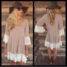 ❗️LAST❗️ Boho Babe Lace Hem Mini Chic Dress Beautiful peasant style dress with lace hem lines. Brand new! Runs true. All colors available. Blue available in s or m  Mocha available in small Dresses Mini