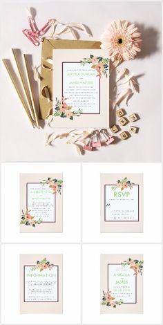 Watercolor Floral Corner Wedding Invitation Suite