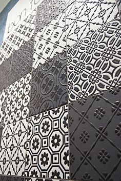 Porcelain stoneware wall/floor tiles BON TON BLACK Bon Ton Collection by @unicabytarget