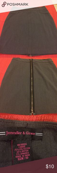 Marshalls Jennifer & Grace Gray Zipper Skirt 10 Great skirt in dark gray with zipper up the back. Has nice stretch. Excellent condition. Size 10. Skirts Pencil