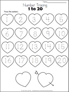 Valentine Hearts Math Worksheet - Trace Numbers to 20 Free Heart Math worksheet. Trace the numbers from 1 to 20 on the hearts. This worksheet is a perfect valentine number practice printable for preschool Numbers Preschool, Free Preschool, Preschool Activities, Math Numbers, Preschool Shapes, Numbers Kindergarten, Pre Kindergarten, Pre K Math Worksheets, Printable Preschool Worksheets