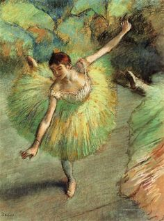 Dancer Tilting, 1883 by Edgar Degas. Impressionism. genre painting. Private Collection