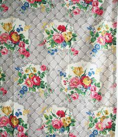 vintage 1950s pure cotton barkcloth floral bouquets cottage garden flowers print | eBay