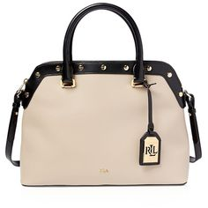 Lauren Ralph Lauren Tate Stud Dome Satchel ($146) ❤ liked on Polyvore featuring bags, handbags, studded handbags, satchel handbags, ralph lauren purses, pink satchel purse and satchel purses