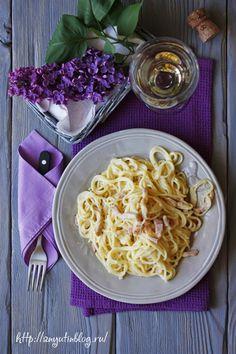 Паста с соусом карбонара. #pasta, #spagetti, #italian, #food, #sauce, #recipes, #carbonara