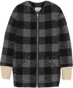Gelicia Checked Wool-Blend Coat Étoile Isabel Marant #black #gray #wool #plaid #coat #fashion