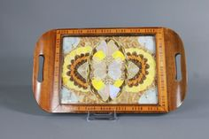 Vintage Art Deco Inlaid Wood Tray Butterflies Under Glass Brazil This is an incredible Vintage Wood Marquetry Inlay Tray with authentic rainforest Vintage Wood, Vintage Home Decor, Vintage Items, Vintage Art, Wood Tray, Teak Wood, Butterfly Design, Butterfly Wings, Rainforest Butterfly