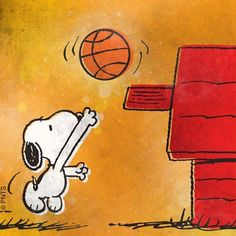 Snoopy playing ball.