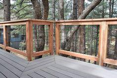 Wild Hog brand welded wire metal railing installed around a deck in Flagstaff Arizona