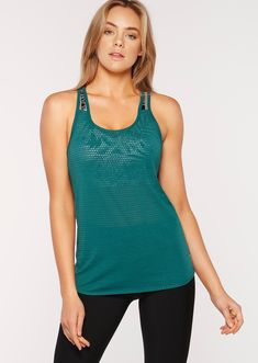 Amp up your workout in this lightweight LJ Active™ tank made to move with you. Constructed in a super soft burnout fabric and designed with an open back so that you'll be able to move without restriction or distraction. Tank Top Outfits, Running Leggings, Womens Workout Outfits, Basic Tank Top, Athletic Tank Tops, Active Wear, Clothes, Let It Be, Amp