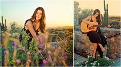 A girl and her guitar in the desert - senior portraits - Senior High School Portrait - Captured Moments by Rita and Company - posing ideas