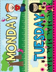 Print and laminate these days of the week toppers, and you're ready to use on your morning meeting calendar. Preschool Classroom Labels, Jungle Theme Classroom, Classroom Charts, Classroom Calendar, Classroom Rules, Preschool Learning, Kindergarten Classroom, Classroom Themes, Preschool Activities