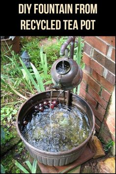 Tea Kettle Fountain Just happen to have a cool tea pot, and always wanted a small water feature!Just happen to have a cool tea pot, and always wanted a small water feature! Garden Crafts, Garden Projects, Water Features In The Garden, Garden Fountains, Outdoor Fountains, Indoor Water Fountains, My Secret Garden, Outdoor Projects, Dream Garden