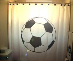 soccer ball shower curtain football by