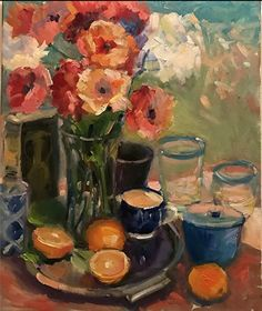 """Still-life with Oranges by Christine Cortese Oil ~ 24"""" x 20"""