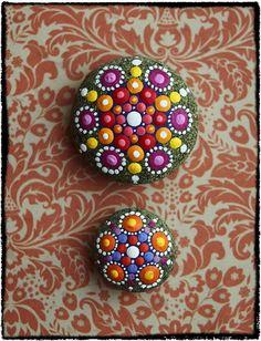 Jewel Drop Mandala Painted Stone Summer