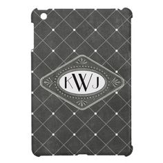 Old Hollywood Monogrammed   Beautiful elegant case for you iPad mini featuring a distressed deep grey background with a lattice pattern and white dots along with a pewter look frame for your monogram or initials. Wonderful gift for him or her.