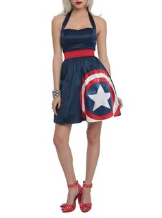 Navy halter style dress with a Captain America shield design, red waistband, navy tulle trim and back zipper closure.