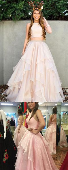 9a93a20c893 Two Piece A-line High Neck Beads Organza Long Sparkly Chic Evening Prom  Dresses UK