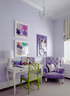 I like these colors- purple and green for a little girl's room - after the baby/toddler nursery