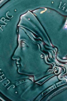 Saint Joan of Arc Ducky Blue Majolica Wall Plate Paris – Charmantiques Saint Joan Of Arc, St Joan, Plates On Wall, French Antiques, Saints, Paris, Portrait, Blue, The 100