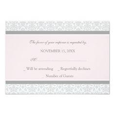 Pink Wedding RSVP Cards Pink Gray Damask RSVP Wedding Card