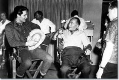 "Elvis Presley and Hal Wallis on the set of 'Roustabout', 1964.  |  Hal Wallis :""Going into the army certainly changed Elvis,he had become more mature because being in the army was unlike anything he'd known before . His sense of humour also developed along with his career as a soldier."" - See more at: http://movies.elvispresley.com.au/hal_wallis_and_elvis_presley.shtml#sthash.gqbUYSuG.dpuf"