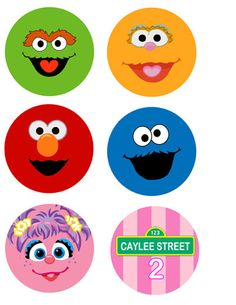 Sesame Street Birthday Cupcake Toppers  Party
