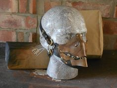 Toothy Grin Half-face Leather Skull Mask by Jackerdemalion on Etsy Raider Game, Skull Mask, Leather Mask, Brass Buckle, Brass Color, Leather Working, Helmets, Raiders, Leather Backpack