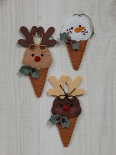 Frozen Treat Ornaments Single Dip Reindeer and Snowman Cones Christmas Crafts To Make, Felt Christmas Ornaments, Christmas 2017, Kids Christmas, Xmas, Craft Projects, Felt Projects, Handmade Hair Accessories, Felt Decorations