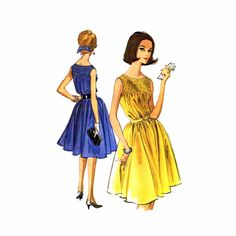 1960s Smocked Dress Fit and Flared McCalls 6614 Vintage Sewing Pattern