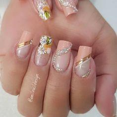Diy Acrylic Nails, Summer Acrylic Nails, Acrylic Nail Designs, Polygel Nails, Diy Nails, Gorgeous Nails, Pretty Nails, Bridal Nail Art, Classy Nails