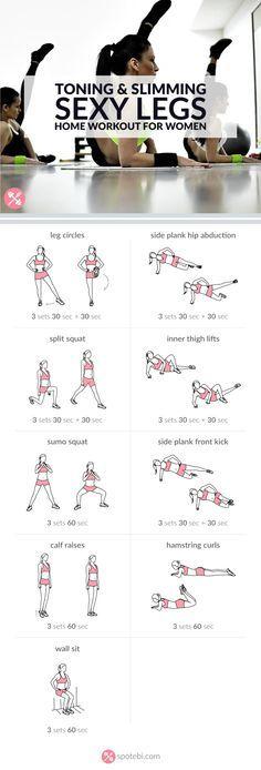 Holen Sie sich schlank und stark mit diesem sexy Beine Workout. 9 straffende und schlankmachende Beinübungen zu arbeiten Ihre inneren und äußeren Oberschenkel, Hüften, Quads, Oberschenkel und Waden. http://www.spotebi.com/workout-routines/sexy-legs-workout-women-toning-slimming/