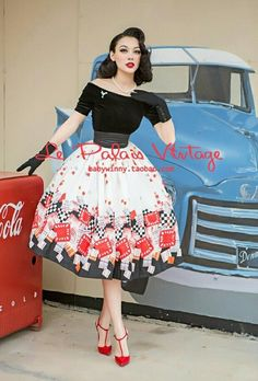 Le palais vintage♡winny rockabilly fashion, rockabilly pin up, retro fashion Retro Pin Up, Pin Up Vintage, Vintage Girls, Vintage Beauty, Vintage Looks, 50s Vintage, 50s Dresses, Vintage Dresses, Vintage Outfits