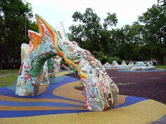 Dragon Mosaic Sculpture – Fannie May Dees Park – Nashville, Tennessee – Mosaic Artist – Pedro P Silva | Mosaic Art Source
