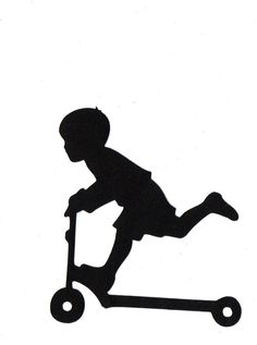 BOY riding scooter Child Silhouette die cut for scrap booking or card making silhouette cameo projects Silhouette Images, Silhouette Portrait, Silhouette Vinyl, Silhouette Cameo Projects, Vinyl Projects, Digital Stamps, Paper Cutting, Silhouettes, Card Making