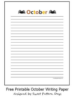 Fun October Lined Writing Paper
