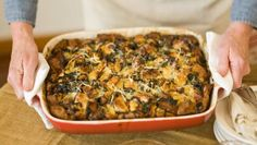 Bacon and Kale Strata. A seriously good recipe you can assemble the night before and bake the next morning. Rich and impressive, yet easy